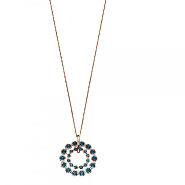 "Sterling Silver Rose Gold Plated Blue Swarovski Crystal Double Circle Pendant & 18"" Chain"