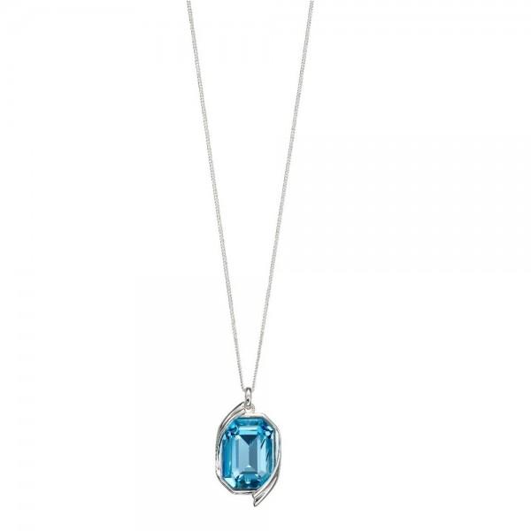 "P4685T Sterling Silver Aqua Blue Swarovski Crystal Pendant & 18"" Chain"
