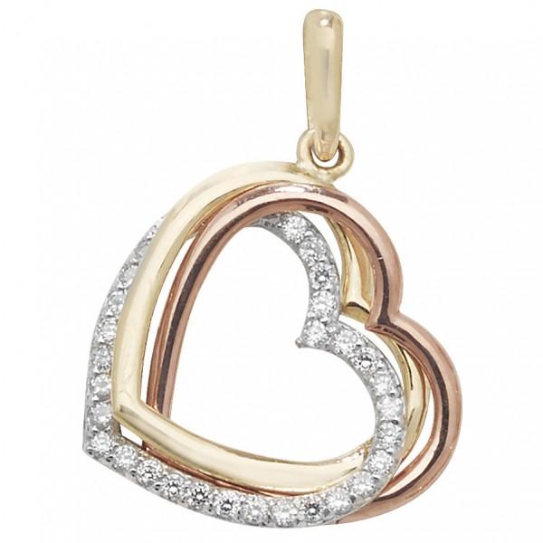 9ct Tri Colour Gold Open Heart Pendant