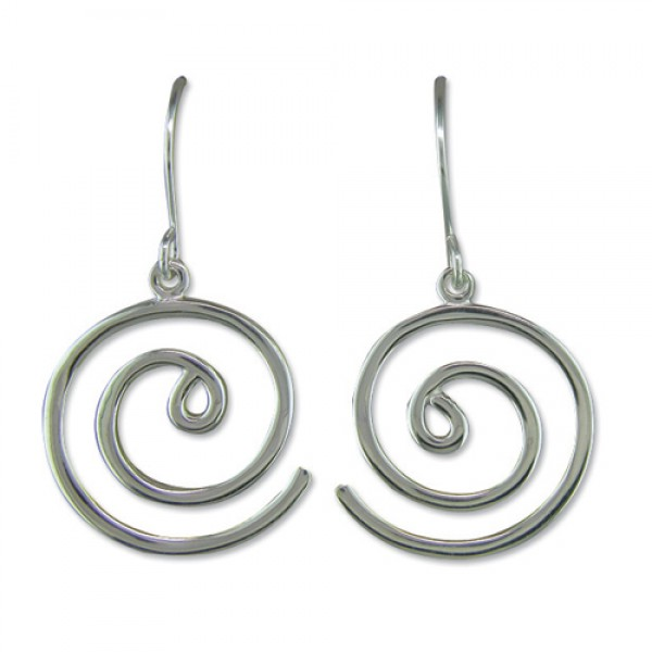 Sterling Silver Open Spiral Drop Earrings