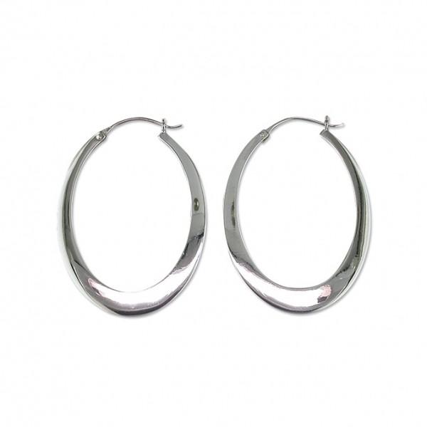 Sterling Silver Oval Flat Creole Earrings