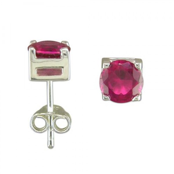 Sterling Silver Synthetic Ruby Earrings