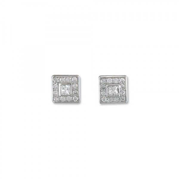 Sterling Silver Cubic Zirconia Fancy Square Stud Earrings-R4706/C