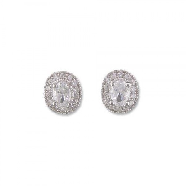 Sterling Silver Oval Cubic Zirconia Earrings