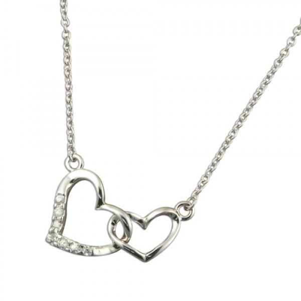 Sterling Silver Cubic Zirconia & Plain Interlinked Hearts Necklace