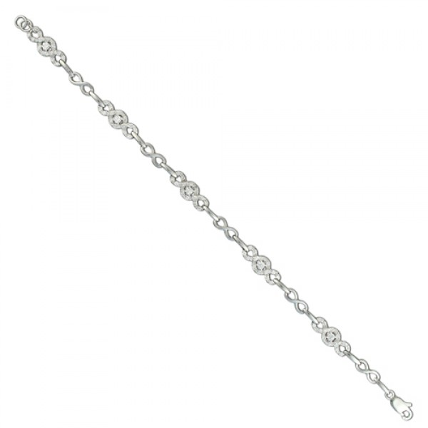 Sterling Silver Figure of 8 Cubic Zirconia Bracelet