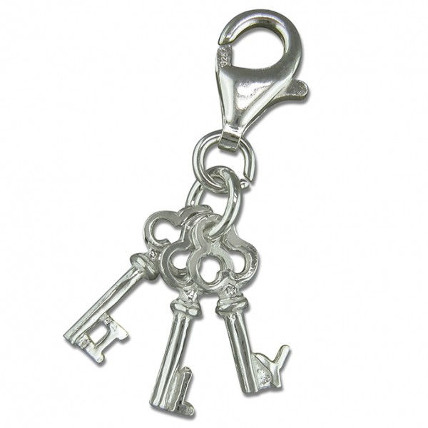 Sterling Silver Clip On I Love You Keys Charm