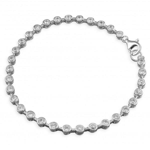 Sterling Silver Round Cubic Zirconia Tennis Bracelet