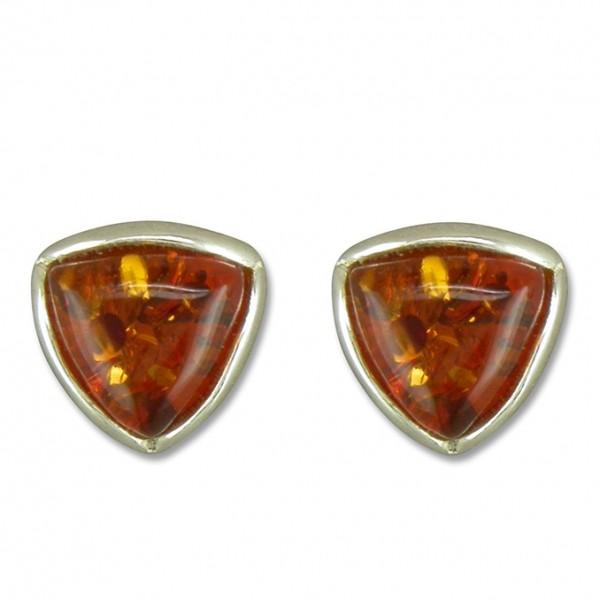 Sterling Silver Triangle Amber Stud Earrings