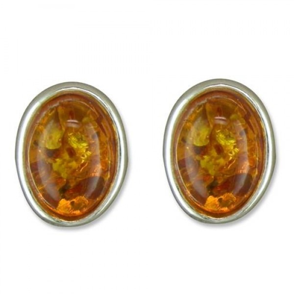 Sterling Silver Real Cognac Amber Small Oval Stud Earrings