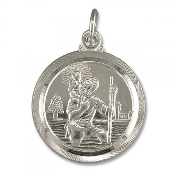 Sterling silver st christopher pendant 20 chain jewellery sterling silver st christopher pendant 20 mozeypictures Choice Image