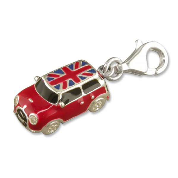 Sterling Silver Clip-On Red Mini Car with Union Jack Roof Charm
