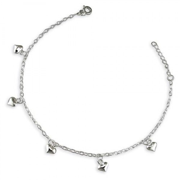 Sterling Silver Multi Heart Charm Anklet