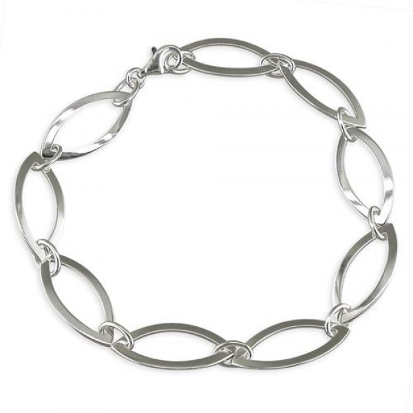 Sterling Silver Open Marquis Links Bracelet
