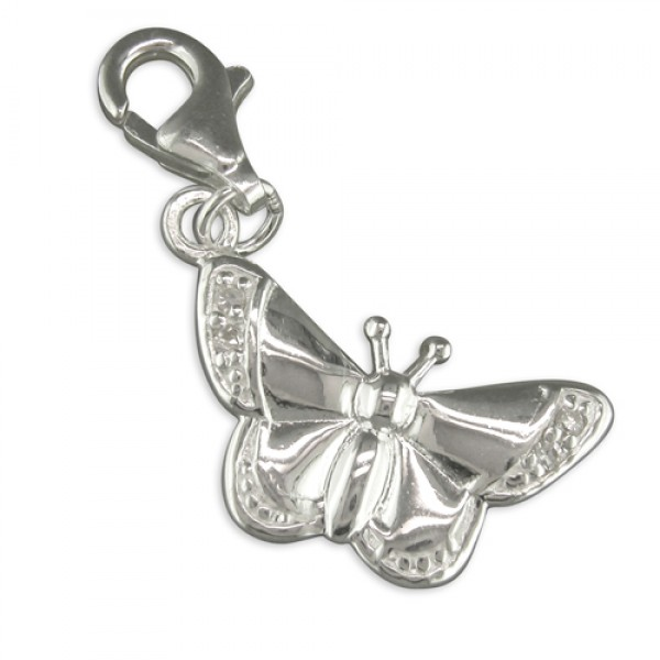 Sterling Silver Clip-On Cubic Zirconia-Winged Butterfly Charm