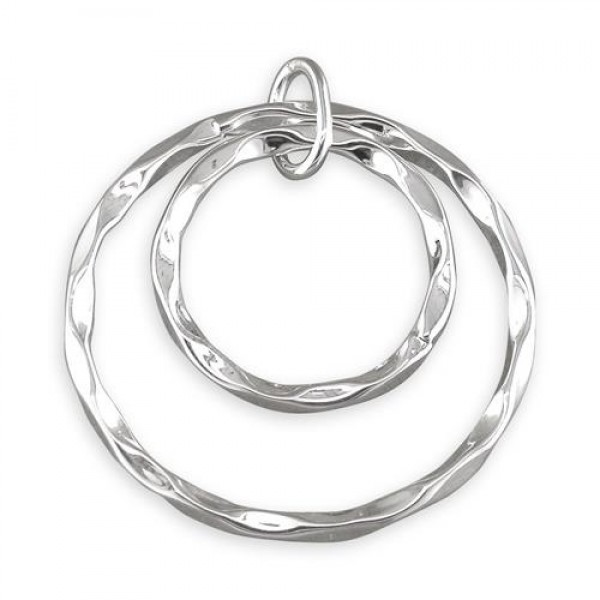 "Sterling Silver Concentric Beaten Rings Pendant &18"" Chain"
