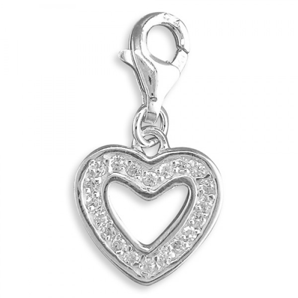 Sterling Silver Clip-On Cubic Zirconia Open Heart Charm