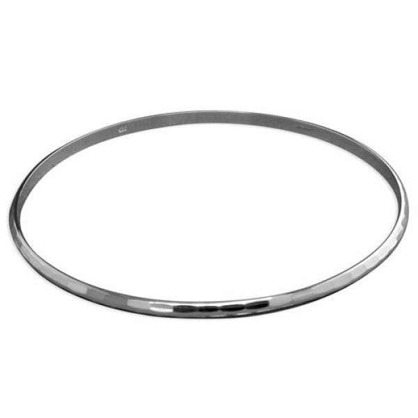 Sterling Silver Faceted Thin Slave Bangle