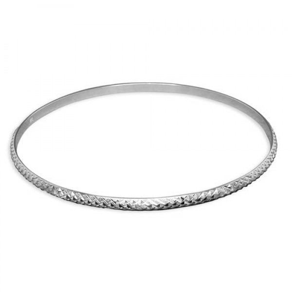 Sterling Silver Criss Cross Pattern Slave Bangle