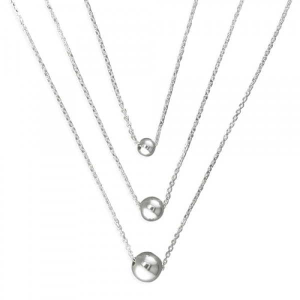 Sterling Silver Triple Chain with Beads Necklace