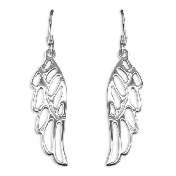 Sterling Silver Angel Wing Hook Drop Earrings
