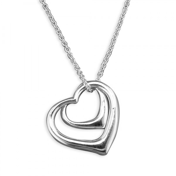 Sterling Silver Small & Large Open Hearts on Chain