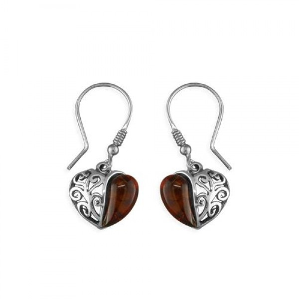 Sterling Silver Real Cognac Amber Fancy Side Hook-In Drop