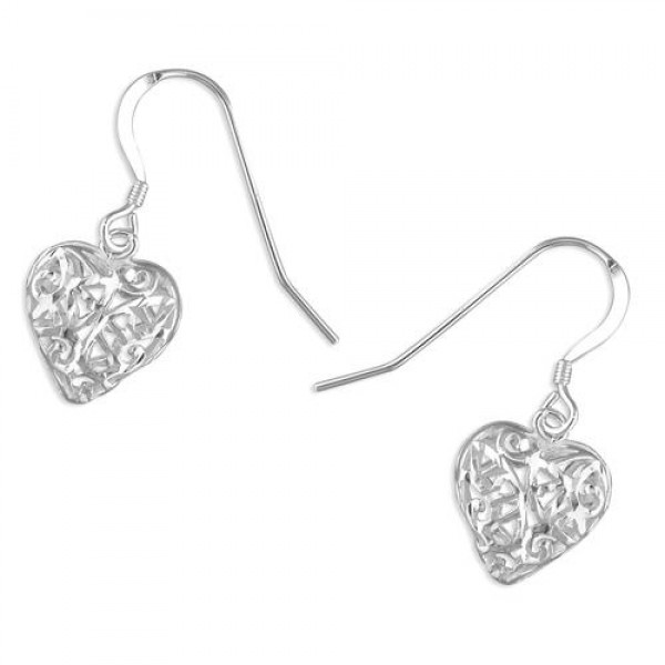 Sterling Silver Lattice Heart Drop Earrings