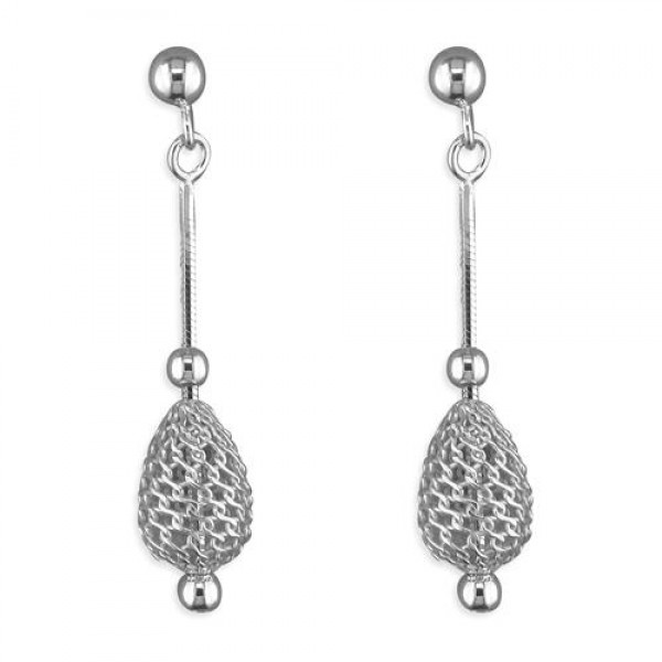 Sterling Silver Oval Cge & Bead Earrings