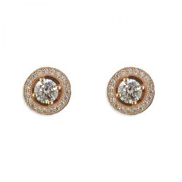 Sterling Silver Rose Gold Plated Cubic Zirconia Halo Stud Earrings