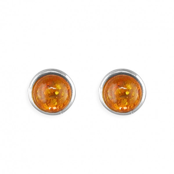 Sterling Silver Round Amber Stud Earrings