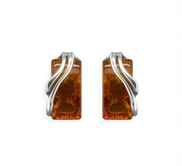 Sterling Silver Real Cognac Amber Fancy Side Hook-In Drop
