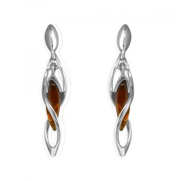 Sterling Silver Real Amber in Helix Drop Stud Earrings