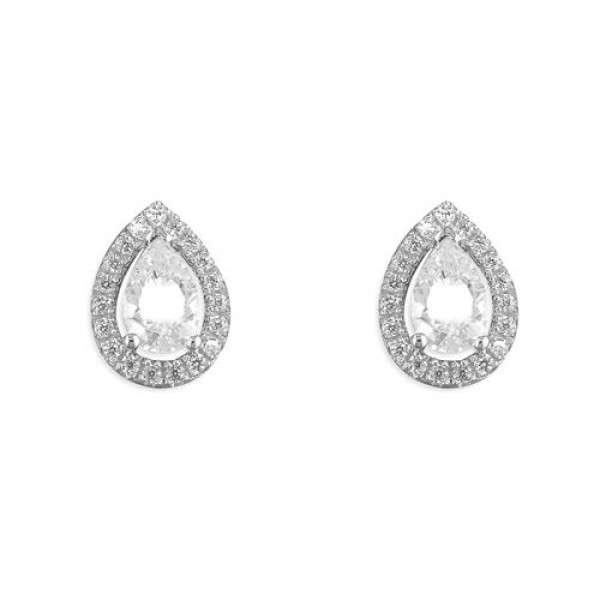 Sterling Silver Cubic Zirconia Teardrop Stud Earrings