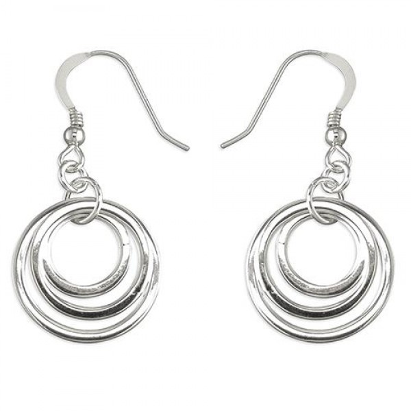 Sterling Silver Triple Ofset Circle Hook-in Drops