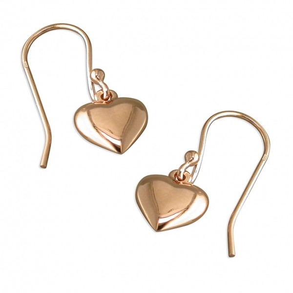 Sterling Silver Rose Gold Plated Puff Heart Drop Earrings