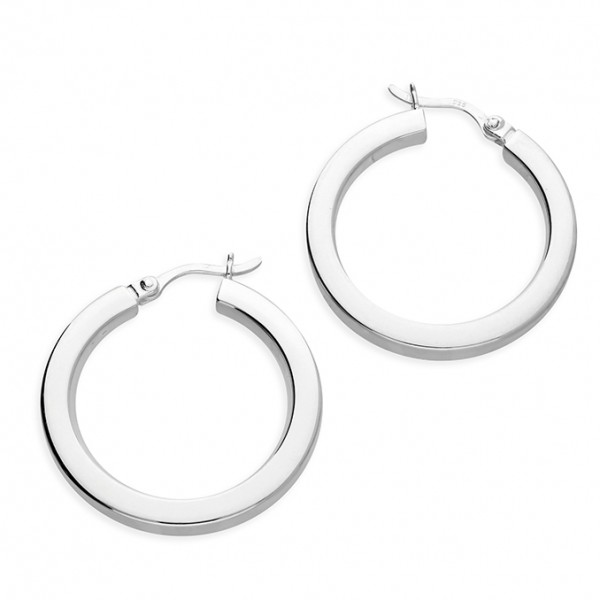 Sterling Silver 20mm Plain Chunky Hoop Earrings