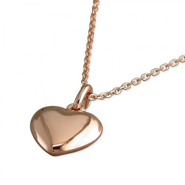 Sterling Silver Rose Plated Heart Necklace-R9211/R