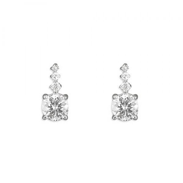 Sterling Silver Graduated Cubic Zirconia Stud Earrings
