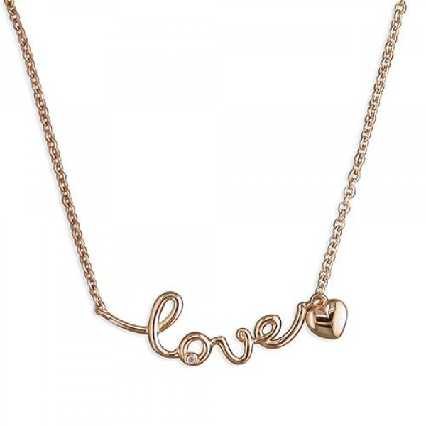 Sterling Silver Rose Plated 'Love' Necklace