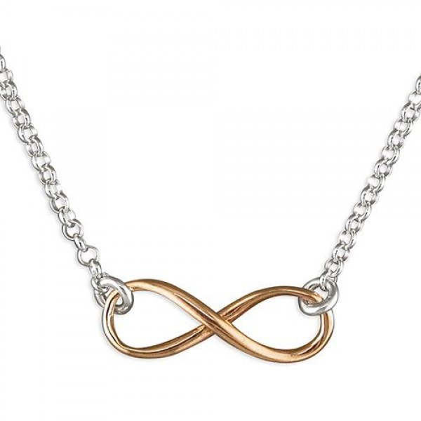 Sterling Silver Rose Plated Infinity Necklace