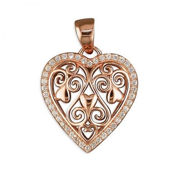 "Sterling Silver Rose Gold Plate Filigree Cubic Zirconia Rimmed Heart Pendant & 18"" Chain"