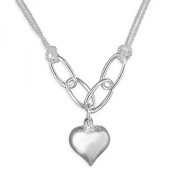 Sterling Silver Cushion Heart Necklace