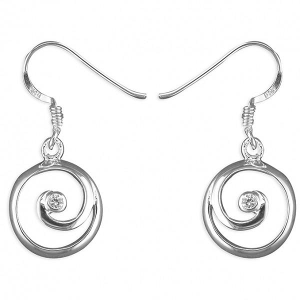 Sterling Silver Open Spiral Cubic Zirconia Drop Earrings