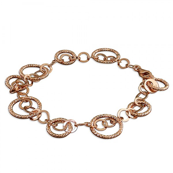 Rose Plated Sterling Silver Open Circles Bracelet