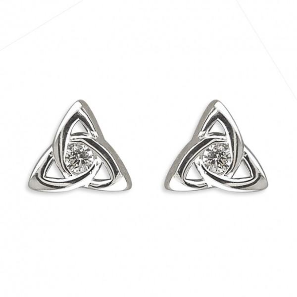Sterling Silver Cubic Zirconia Celtic Knot Stud Earrings
