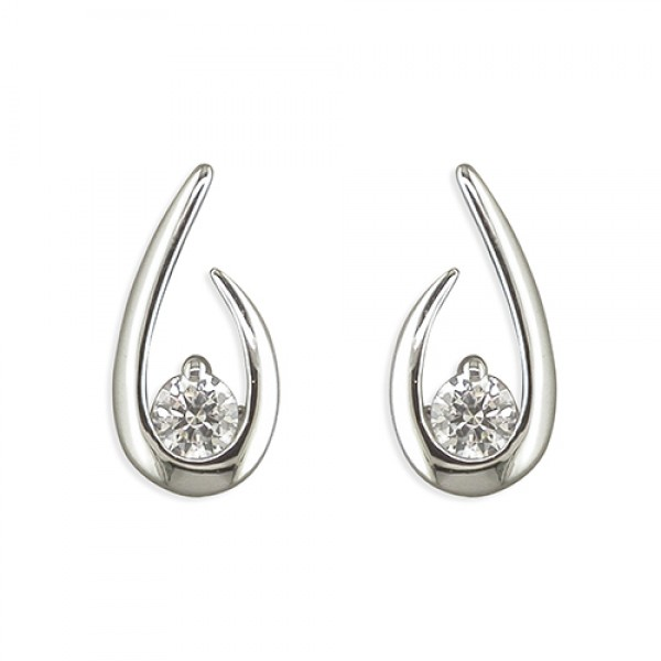 Sterling Silver Cubic Zirconia Teardrop Swirl Earrings