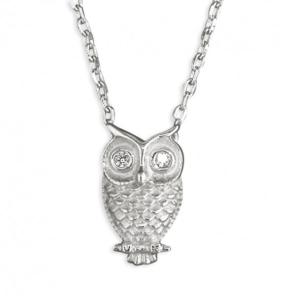 Sterling Silver Cubic Zirconia Owl Necklace