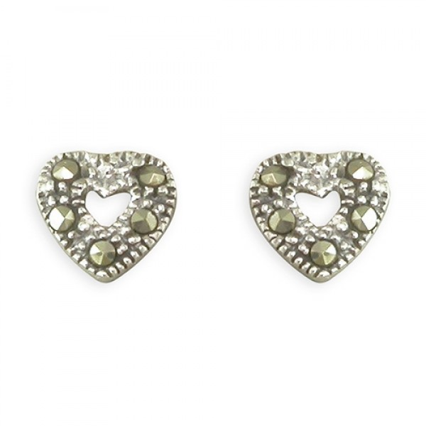 Sterling Silver Marcasite Open Heart Stud Earrings