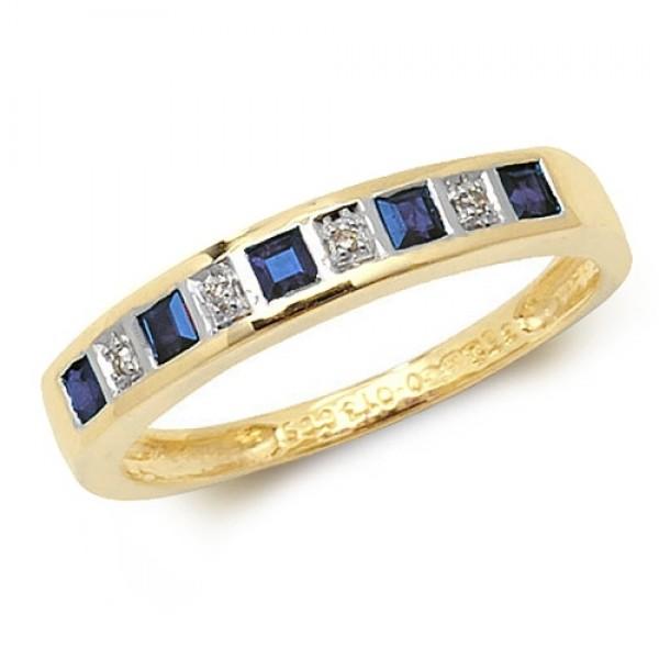 9ct Square Sapphire & Diamond Row Ring